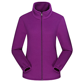 cheap Camping, Hiking & Backpacking-Women's Hiking Fleece Jacket Autumn / Fall Winter Spring Outdoor Solid Color Thermal Warm Windproof Fleece Lining Warm Winter Fleece Jacket Fleece Full Length Visible Zipper Fishing Camping / Hiking