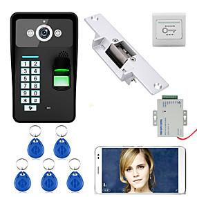 billige Tilgangskontrollsystem-720p trådløs wifi rfid passord fingeravtrykk gjenkjenning video dør telefon doorbel intercom system elektrisk streik lås