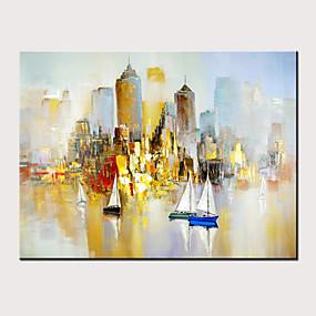 preiswerte Abstrakte Gemälde-Hang-Ölgemälde Handgemalte - Abstrakt Landschaft Modern Ohne Innenrahmen