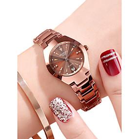 preiswerte Damenuhren-Damen Uhr Armbanduhr Goldene Uhr Quartz Edelstahl Schwarz / Rotgold 30 m Wasserdicht Kalender Analog Freizeit Modisch Schwarz Rotgold