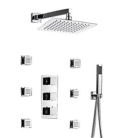 preiswerte Armaturen-Duscharmaturen - Moderne Chrom Wandmontage Messingventil Bath Shower Mixer Taps / Drei Griffe Drei Löcher