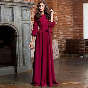 cheap Red Dresses-Women's Party Daily Basic Maxi Swing Dress High Waist Cotton Blue Green Wine M L XL