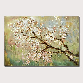 cheap Floral/Botanical Paintings-Oil Painting Hand Painted Landscape / Floral / Botanical Modern Rolled Canvas Rolled Without Frame