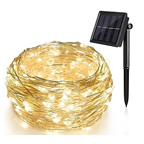 cheap Light Strips & Strings-10M 100 LED Solar Powered String Light Waterproof Dip Led Copper Wire Holiday Outdoor Led Strip for Christmas Party Wedding Decoration