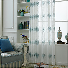 cheap Sheer Curtains-Two Panel European Style Embroidered Yarn Curtain Semi-Transparent Living Room Bedroom Children's Room Yarn Curtain