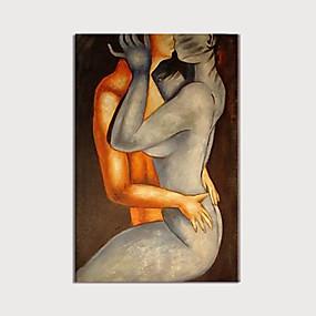 preiswerte Abstrakte Gemälde-Hang-Ölgemälde Handgemalte - Menschen Hautfarben Modern Ohne Innenrahmen / Gerollte Leinwand