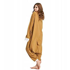 preiswerte Cosplay Costumes-Erwachsene Kigurumi-Pyjamas Faultier Pyjamas-Einteiler Polar-Fleece Gelb / Braun Cosplay Für Herren und Damen Tiernachtwäsche Karikatur Fest / Feiertage Kostüme