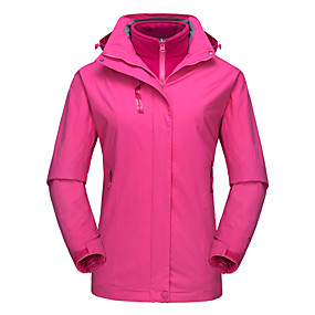 cheap Camping, Hiking & Backpacking-DZRZVD® Women's Waterproof Hiking 3-in-1 Jacket Autumn / Fall Winter Spring Outdoor Solid Color Thermal Warm Waterproof Windproof Rain Waterproof Jacket 3-in-1 Jacket Top Waterproof Rain Proof