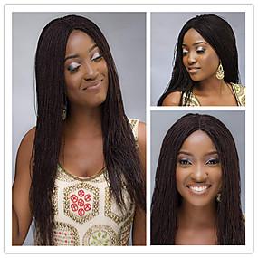 preiswerte Braid Style Lace Wigs-Cabello Natural Remy Vollspitze Perücke Asymmetrischer Haarschnitt Rihanna Stil Brasilianisches Haar Afro Kinky Afrikanische Locken Natürlich Schwarz Perücke 180% Haardichte Weich Damen Natürlich
