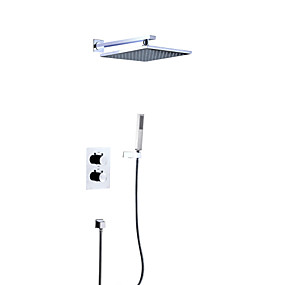 preiswerte Duscharmaturen-Duscharmaturen - Moderne Chrom Wandmontage Messingventil Bath Shower Mixer Taps / Zwei Griffe Vier Löcher