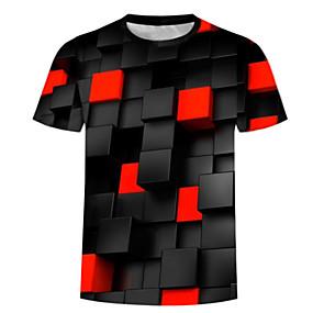 preiswerte Plan Your Summer-Herrn 3D - Grundlegend / Übertrieben Übergrössen Baumwolle T-shirt, Rundhalsausschnitt Druck Schwarz / Kurzarm