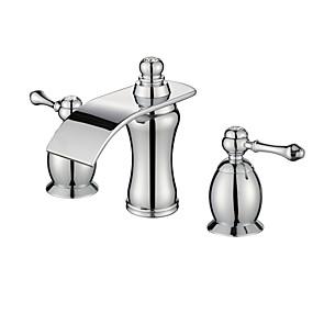 preiswerte Badarmaturen-Waschbecken Wasserhahn - Wasserfall Chrom 3-Loch-Armatur Zwei Griffe Drei LöcherBath Taps / Messing