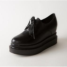 levne Dámské Oxfordky-Dámské Nappa Leather Zima Oxfordské Creepers S uzavřeným palcem Bílá / Černá