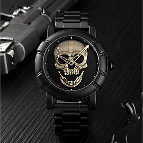 preiswerte Halloween-Uhren-SKMEI Herrn Uhr Sportuhr digital Edelstahl Schwarz 30 m Wasserdicht Armbanduhren für den Alltag Totenkopf Analog Luxus Modisch Silber Leicht Grün Rotgold