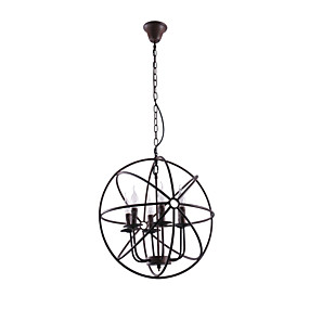 cheap Ceiling Lights & Fans-1-Light 50 cm Candle Style Chandelier Metal Globe Painted Finishes Rustic / Lodge 110-120V / 220-240V