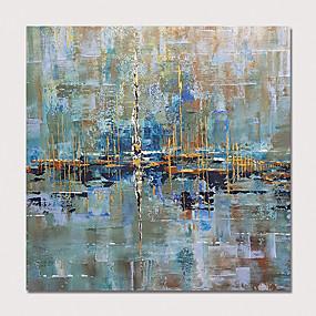 preiswerte Wand- & Ölbilder-Hang-Ölgemälde Handgemalte - Abstrakt Modern Ohne Innenrahmen / Gerollte Leinwand