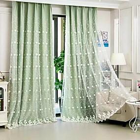 billige Barnegardiner-Moderne Blackout Gardiner To paneler Curtain & Sheer / Broderi / Stue