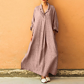 preiswerte 2019 Looks Esportivos-Damen Übergrössen Elegant Lose überdimensional Abaya Kleid Solide Maxi Hemdkragen