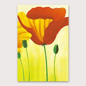 povoljno Slike za cvjetnim/biljnim motivima-Hang oslikana uljanim bojama Ručno oslikana - Cvjetni / Botanički Moderna Uključi Unutarnji okvir