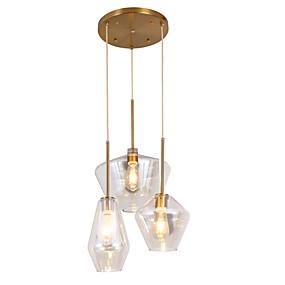 povoljno Viseća rasvjeta-ZHISHU 3-Light Geometrijski / Noviteti Privjesak Svjetla Downlight Slikano završi Metal Glass Kreativan, New Design 110-120V / 220-240V
