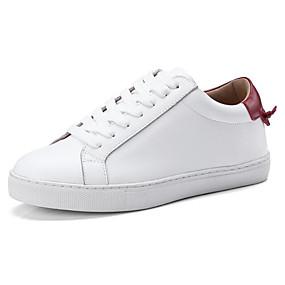 voordelige Damessneakers-Dames Nappaleer Lente Sneakers Platte hak Wit / Bruin / Wijn