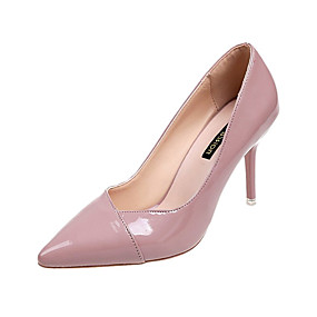 Недорогие Лодочки-Жен. Полиуретан Весна Минимализм Обувь на каблуках На шпильке Заостренный носок Красный / Розовый / Телесный