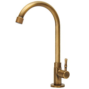 cheap Kitchen Faucets-European Style Bronze Full Copper Yellow Single Cold Kitchen Basin Faucet Antique 360 Degree Rotatable Faucet
