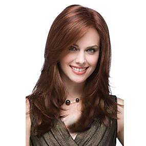 cheap Synthetic Half Wigs-Straight Loose Curl Side Part Wig Medium Length Brown / Burgundy Synthetic Hair 53 inch Women's Women Brown