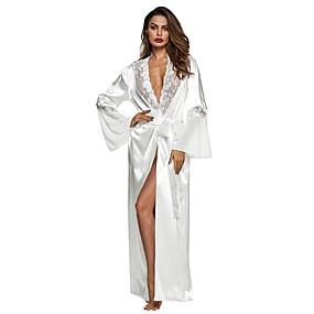 preiswerte Roben-Damen Spitze Super Sexy Roben / Satin & Seide Nachtwäsche Volltonfarbe Weiß S M L / Tiefes V