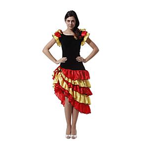 preiswerte Cosplay Costumes-Spanische Dame Kleid Erwachsene Damen Flamenco Halloween Karneval Maskerade Fest / Feiertage Tüll Polyester Schwarz Damen Karneval Kostüme Patchwork