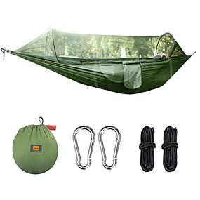 preiswerte Sport & Outdoor-Campinghängematte mit Moskitonetz Außen Leicht Stahl-Legierung Terylen mit Karabinern und Baumgurten für 1 Person Angeln Wandern Klettern Grün Schwarz 290*145 cm