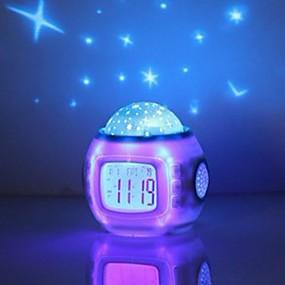 preiswerte Wecker-Musik Sternenhimmel Projektion Wecker Snooze digital LED Wecker Kalender Thermometer Projektionslicht