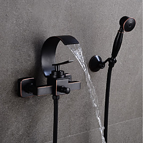 cheap Wall Mount-Bathroom Sink Faucet - Waterfall Black Centerset Single Handle Two HolesBath Taps