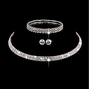 povoljno Nakit za vjenčanje i izlaske-Žene Bijela Kubični Zirconia Nakit za gležanj Choker oglice Naušnica Vintage Style Stilski Jednostavan Naušnice Jewelry Pink Za Vjenčanje Party Angažman