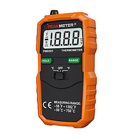 preiswerte Entdecken-PM6501 Thermometer Centigrade: -50℃~-20℃, -20℃~0℃ ,0℃~200℃, 200℃~500℃, 500℃~750℃ Fahrenheit: -58℉~-4℉, -4℉~32℉, 32℉~200℉, 200℉-932℉, 932℉-1382℉ Power Supply: 2 x 1.5V AAA (not included) Maßnehmen