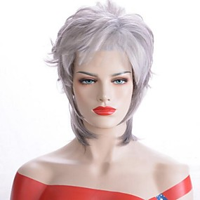 cheap Synthetic Half Wigs-Costume Accessories Straight Side Part Wig Short Grey Synthetic Hair 33 inch Women's Women Gray