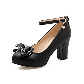 cheap New Year-Girls' Tiny Heels for Teens PU Heels Little Kids(4-7ys) / Big Kids(7years +) Black / Beige / Pink Spring &  Fall