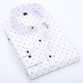 cheap Athleisure Wear-Men's Shirt Polka Dot Geometric Print Long Sleeve Daily Slim Tops Business Basic Spread Collar White Blue Blushing Pink / Fall / Spring / Work