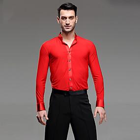 ราคาถูก ชุดเต้นรำและร้องเท้าเต้นรำ-ชุดเต้นละติน เสื้อ สำหรับผู้ชาย Performance ผ้าลินิน กระโปรงระบาย แขนยาว เสื้อเชิ้ต