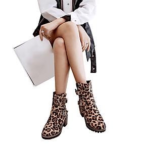 billige Mote Boots-Dame Semsket lær Høst vinter Klassisk / Fritid Støvler Blokker hælen Rund Tå Støvletter Spenne Brun / Leopard / Burgunder