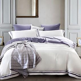 preiswerte Feste Duvet Covers-weiß und lila Bettbezug-Sets zeitgenössischer Polyester-Reaktivdruck 4-teilige Bettwäschesets