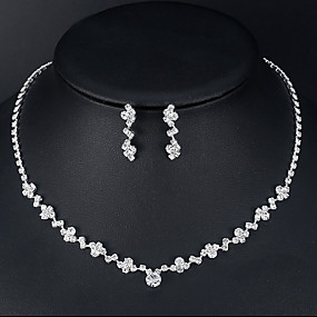 cheap Wedding-Women's Necklace Earrings Tennis Chain European Trendy Fashion Rhinestone Earrings Jewelry Silver For Wedding Engagement 1 set