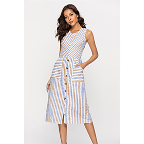 preiswerte Damenbekleidung-Damen Grundlegend Baumwolle Hülle Kleid - Druck, Gestreift Midi U-Ausschnitt Hohe Taillenlinie