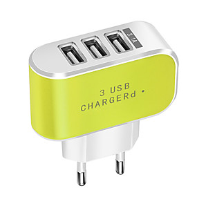 cheap Wall Chargers-Portable Charger / USB Wall Charger EU Plug Normal 3 USB Ports 3.1 A DC 5V for Mobile Phone Tablet