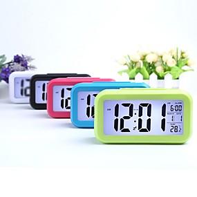 billige Lamper og belysning-smart nattlys digital vekkerklokke med dato innetemperatur snooze bakgrunnsbelysning nattbord på nattbordet