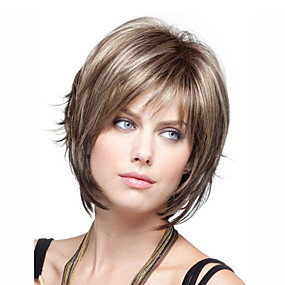 cheap Synthetic Half Wigs-Synthetic Wig Loose Curl Short Bob Wig Short Light Brown Synthetic Hair 10 inch Women's Women Brown