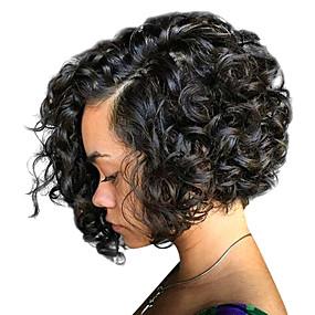 abordables Curly Lace Wigs-Peluca Pelo Natural Encaje Frontal Cabello Brasileño Rizado Corte Pixie Mujer Densidad 130% 150% 180% con pelo de bebe Envío Gratuito Media Negro Natural Marrón Medio Castaño Pelucas de Cabello
