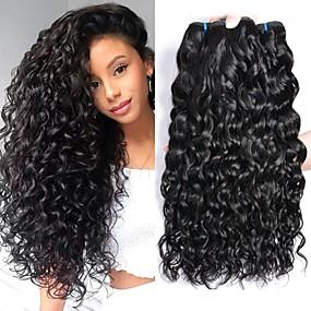 preiswerte Human Hair Weaves-4 Bündel Brasilianisches Haar Wasserwellen Unbehandeltes Haar Kopfbedeckung Menschenhaar spinnt Haarpflege 8-28 Zoll Naturfarbe Menschliches Haar Webarten Weich Beste Qualität Schlussverkauf