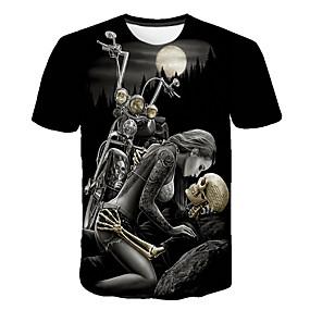 cheap Happy Halloween-Men's Daily T-shirt Skull Print Short Sleeve Tops Basic Streetwear Round Neck Black / Club