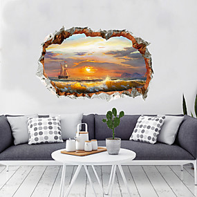 preiswerte Haus Dekor-Dekorative Wand Sticker - 3D Wand Sticker Landschaft / 3D Wohnzimmer / Schlafzimmer / Küche